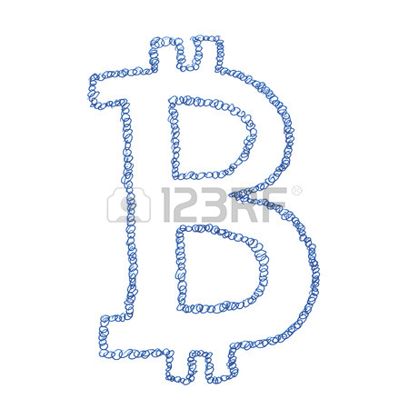450x450 Bitcoin Cloud Symbol, Handmade Drawing Of A Digital Decentralized