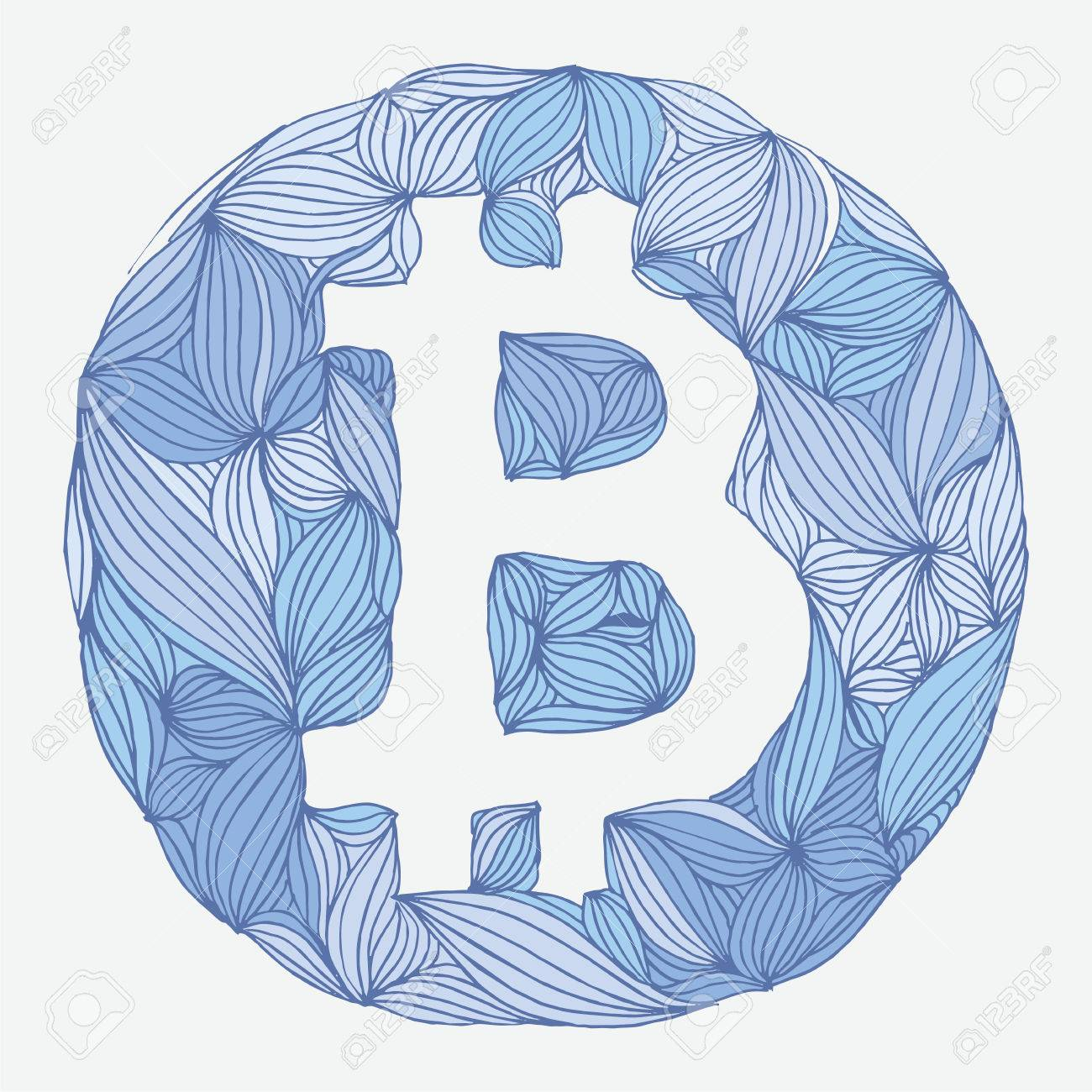 1300x1300 Vector Decorative Hand Drawing Bitcoin Symbol. Cryptography