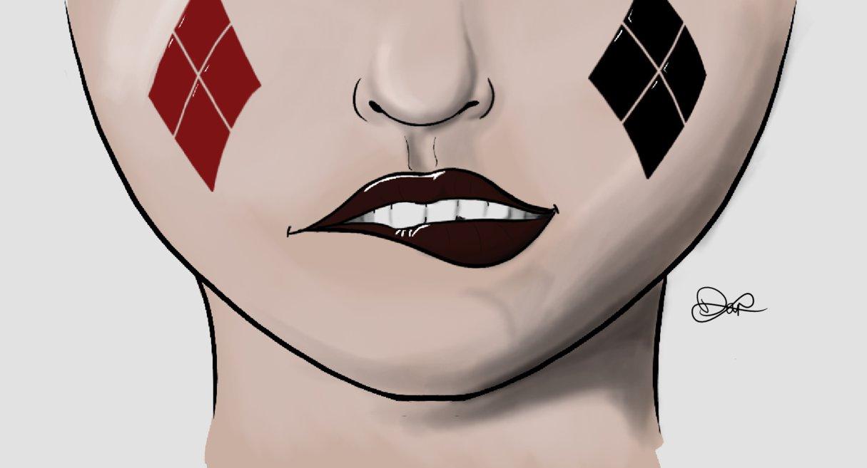 1215x657 Harley Quinn Lip Bite By Djkc12