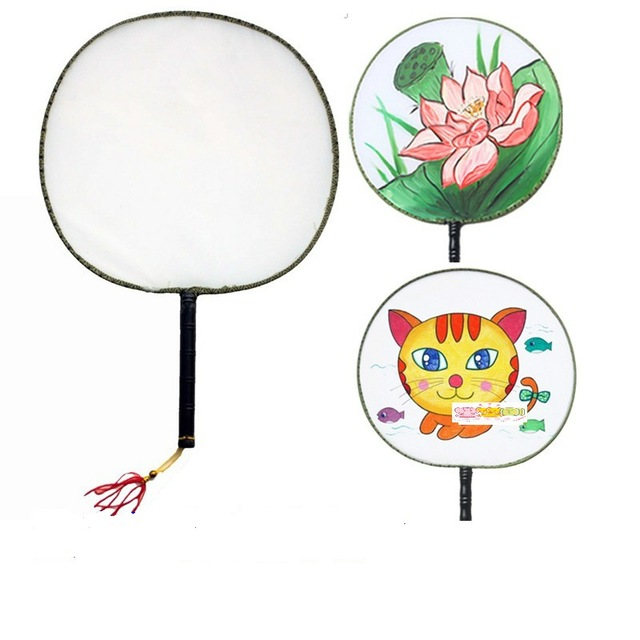 640x640 Diy Sketchers Chinese Art Round Fan Baby Blank Drawing Silk Fans