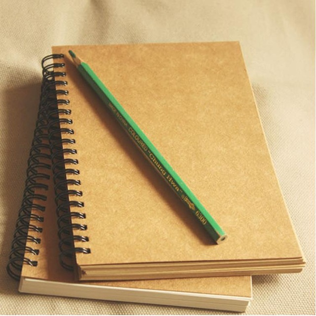640x640 Vintage Kraft Paper Coil Notebook Blank Sketch Book Creative