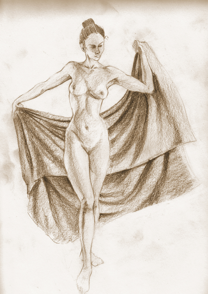 709x1000 Life Drawing Lady With Velvet Blanket
