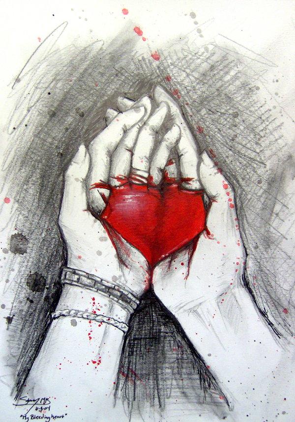 600x859 Broken Bleeding Hearts Drawings My Bleeding Heart By Kelii My