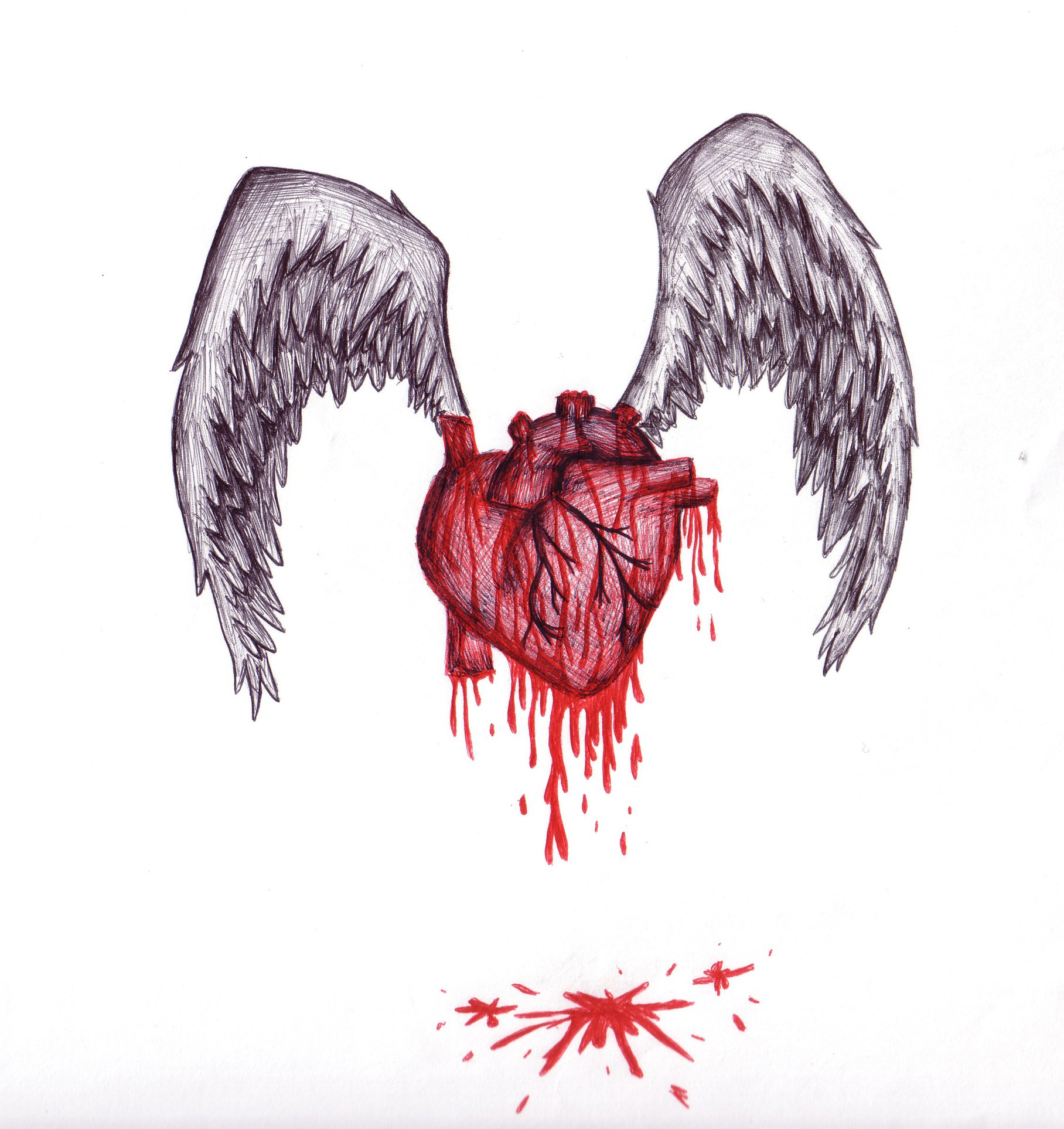 Magnificent How To Draw A Bleeding Heart With Barbed Wire Step By ...