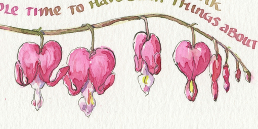 510x256 Everyday Artist Bleeding Heart Sketch With Watercolor Calligraphy