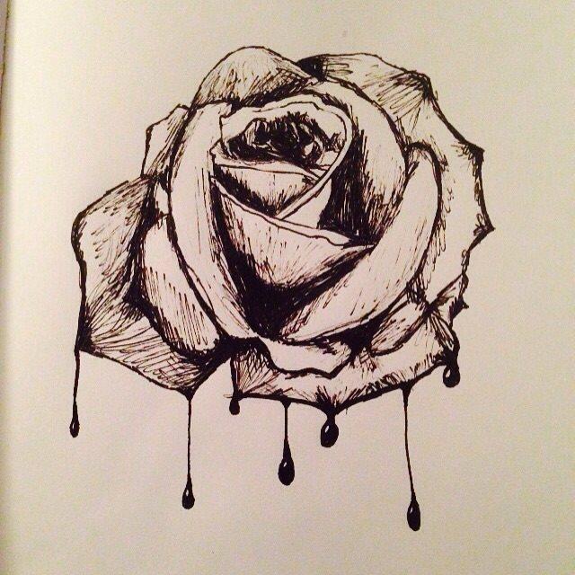 640x640 Bleeding Rose By Blackrabbitdrawings