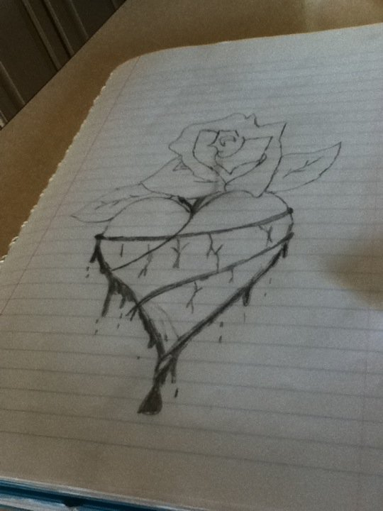 540x720 Heart And Bleeding Rose By Bloodonmyhands25