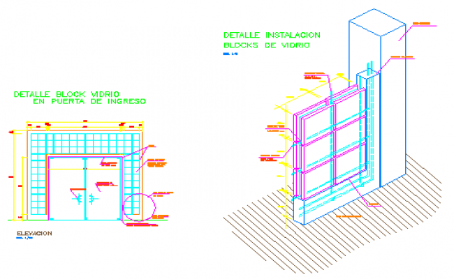 650x400 Block Design With Fitting Brick Wall Detail Drawing