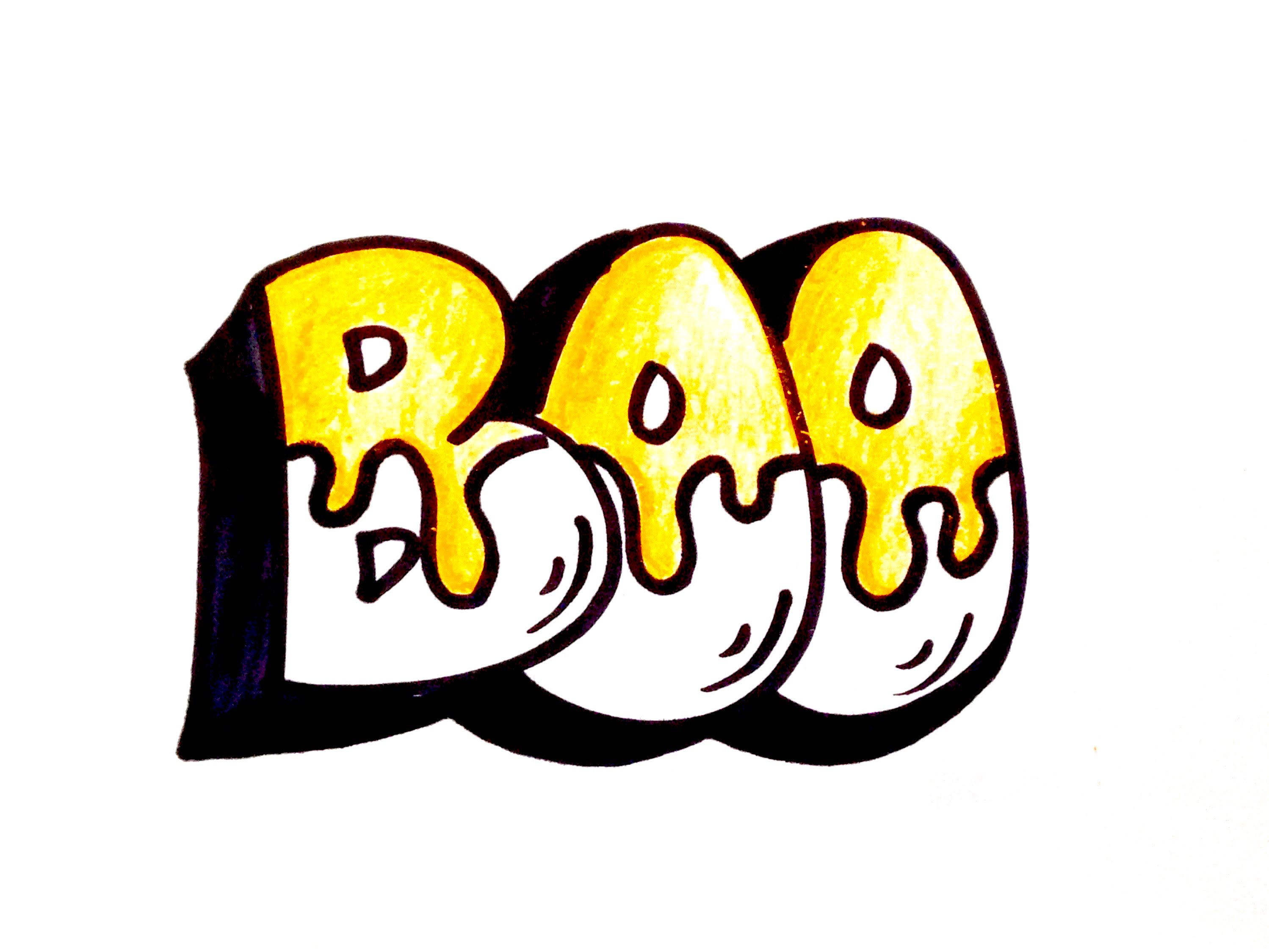 2997x2248 Drawing Lesson How To Draw Boo Block Letters For Halloween