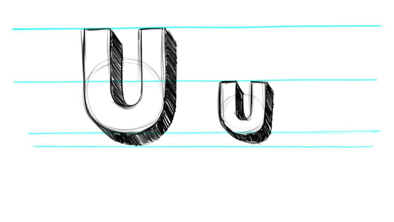 1280x720 How To Draw 3d Letters U