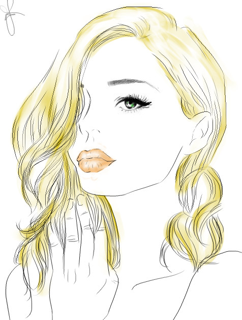 476x629 Drawing Blonde Girl. By Graphicmangaitaly
