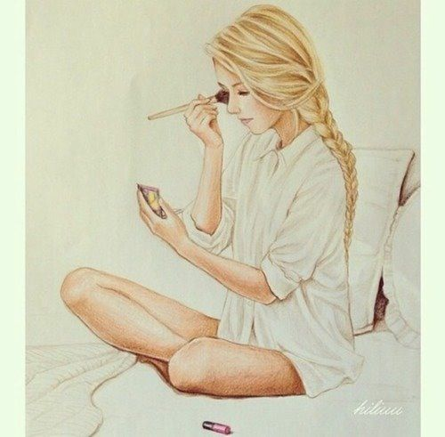 500x491 Fashion Girl Drawing Blonde Makeup Projekty Do