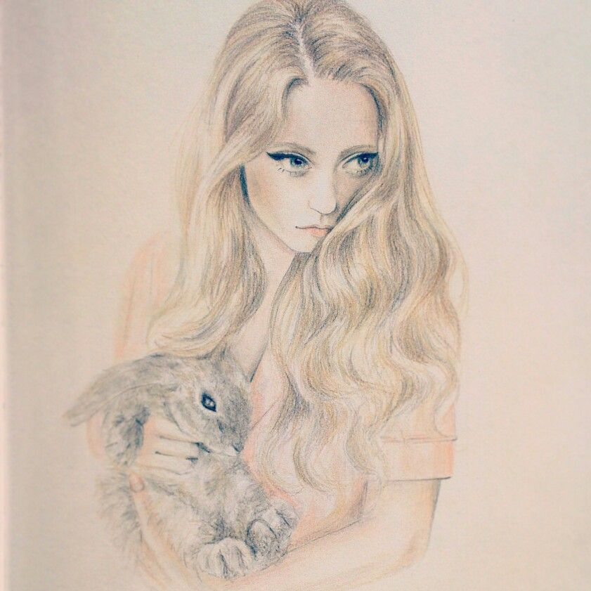 841x841 Just A Drawing For Fun Girl And Her Rabbit.