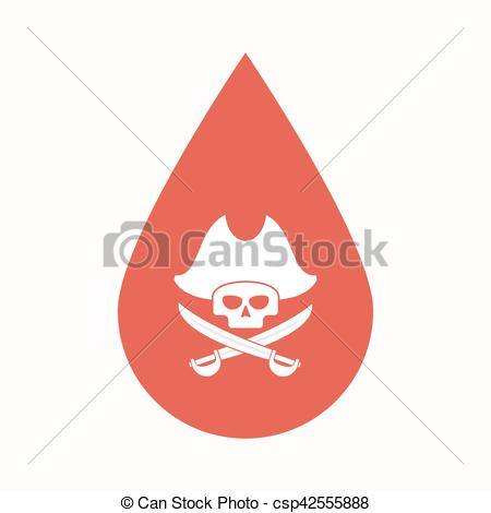 450x470 Isolated Blood Drop With A Pirate Skull. Illustration