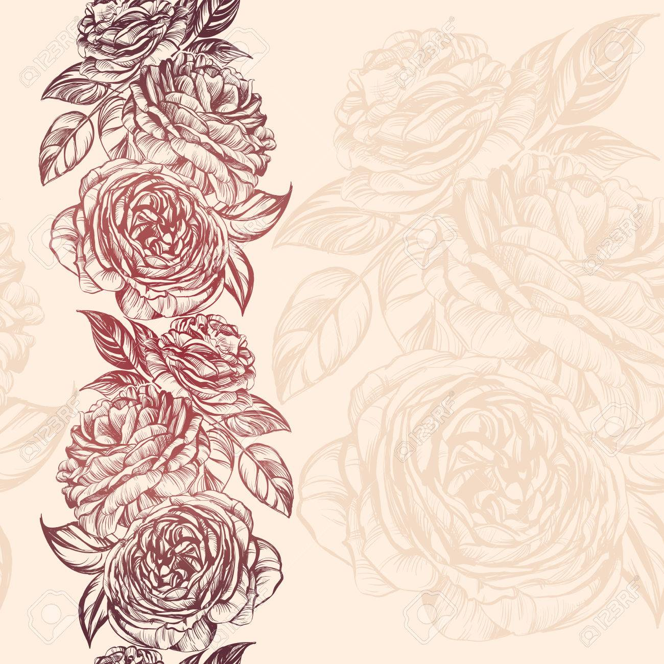 1300x1300 Abstract Floral Blooming Rose Branch Background Texture Hand