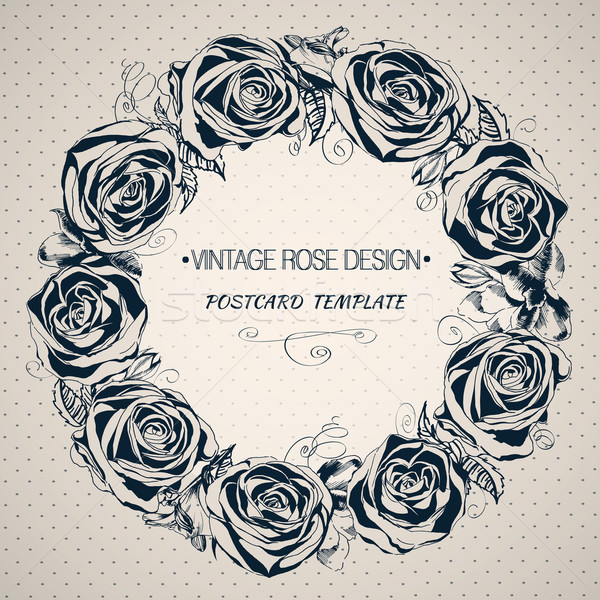 600x600 Background With Blooming Roses. Hand Drawing Floral Wreath Vector