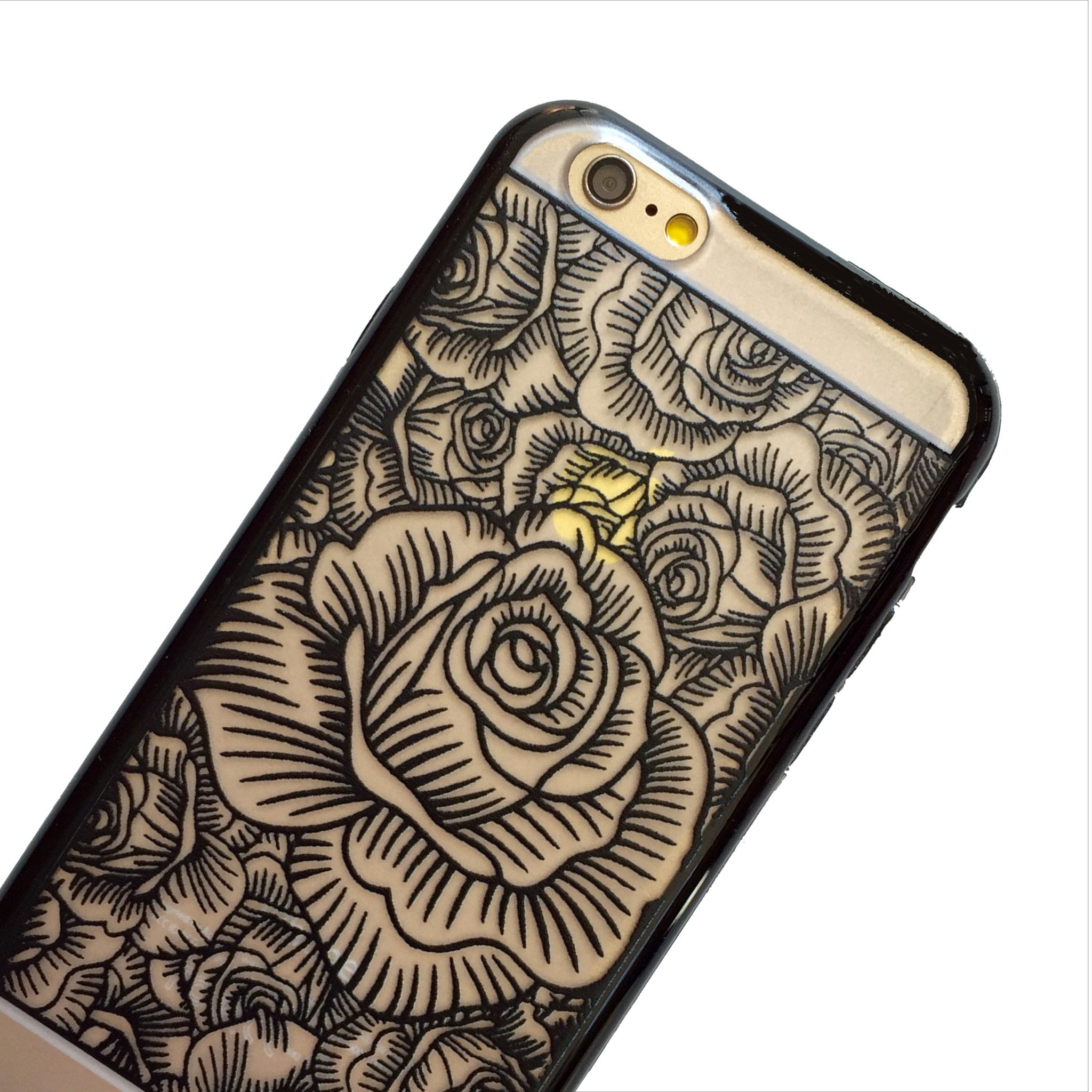 2048x2048 Black Blooming Roses Phone Case Mahalocases
