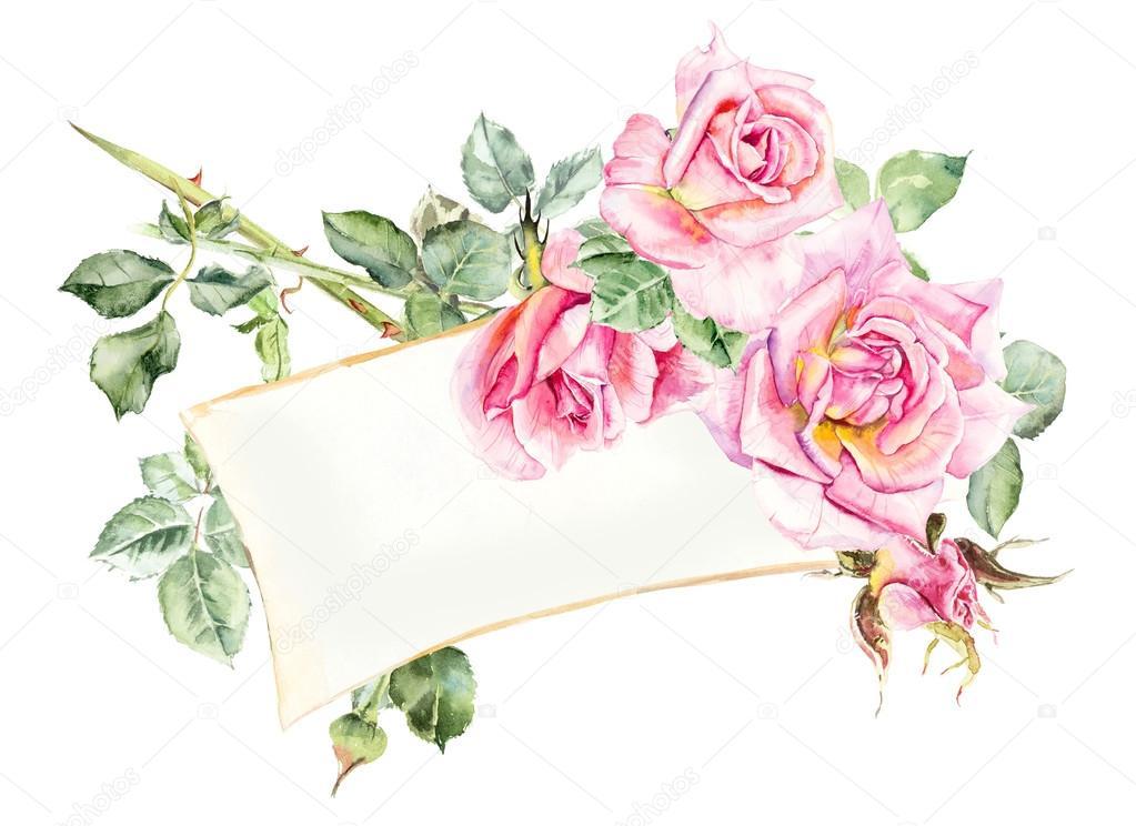 1023x744 Frame From Roses. Wedding Drawings. Stock Photo Budogosh