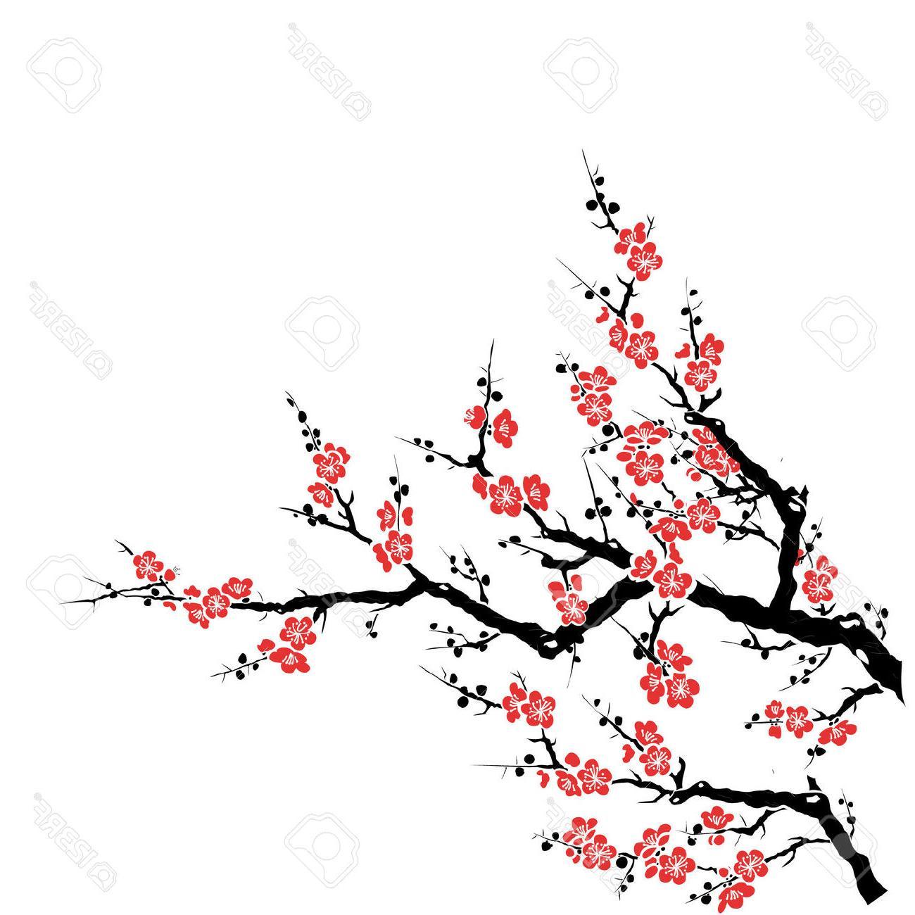 1300x1300 Sakura Flower Draw Top 10 Plum Tree Red Cherry Blossom Drawing