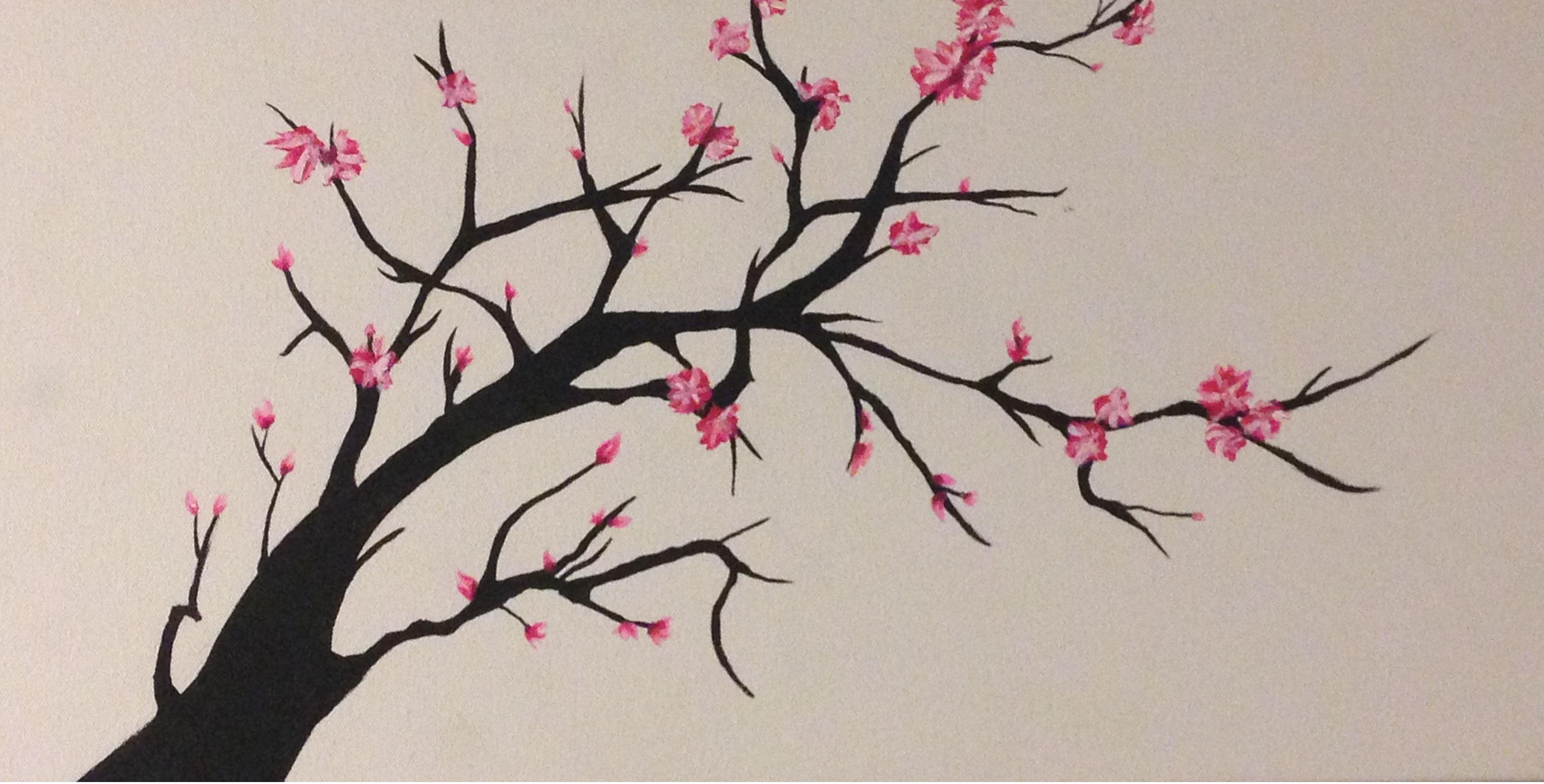 3154x1603 Drawing Of A Cherry Blossom Tree Drawn Tree Cherry Blossom Tree