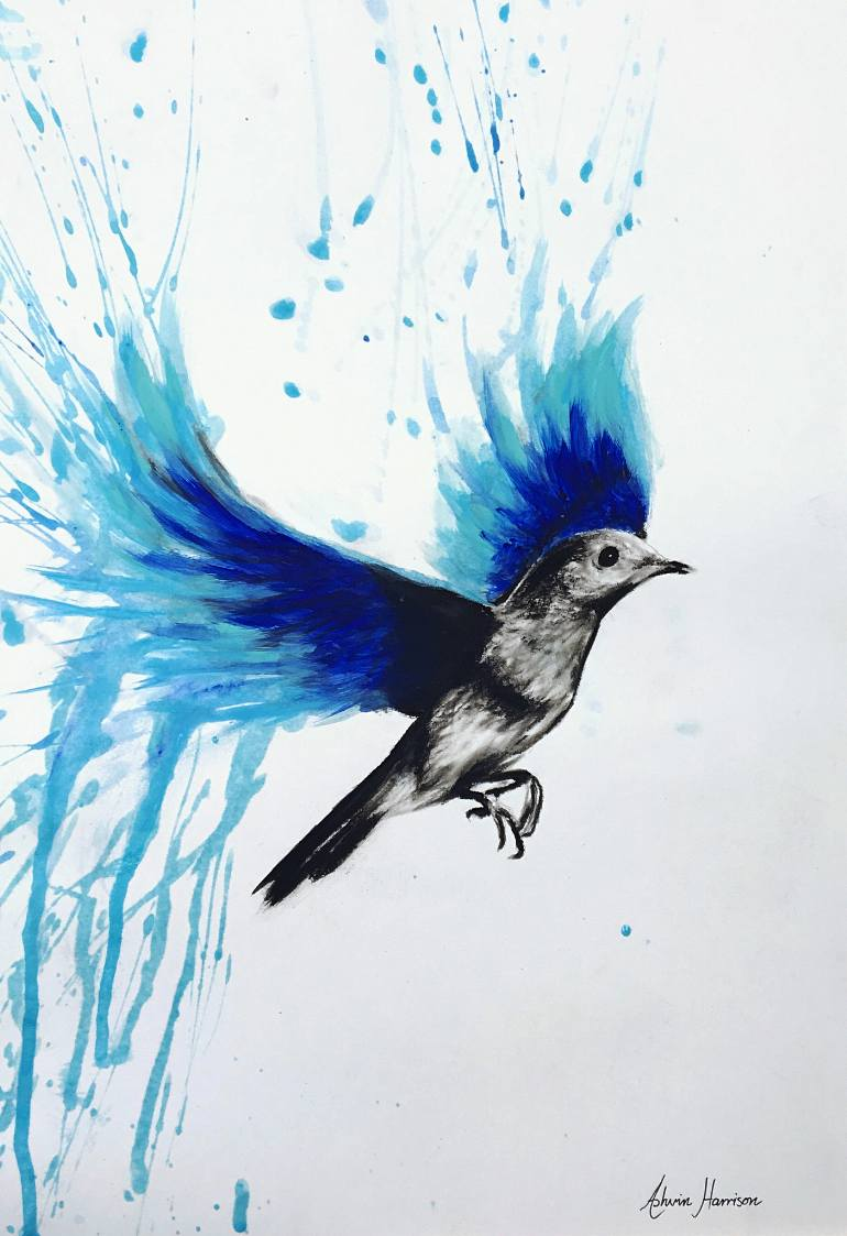 770x1123 Saatchi Art Flying With Blue Bird Painting By Ashvin Harrison