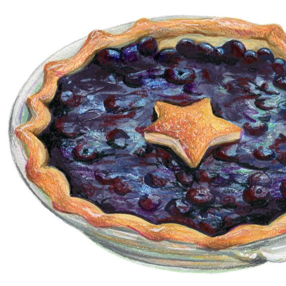 570x570 Blueberry Pie Art Food Illustration Art By Kendyllhillegas
