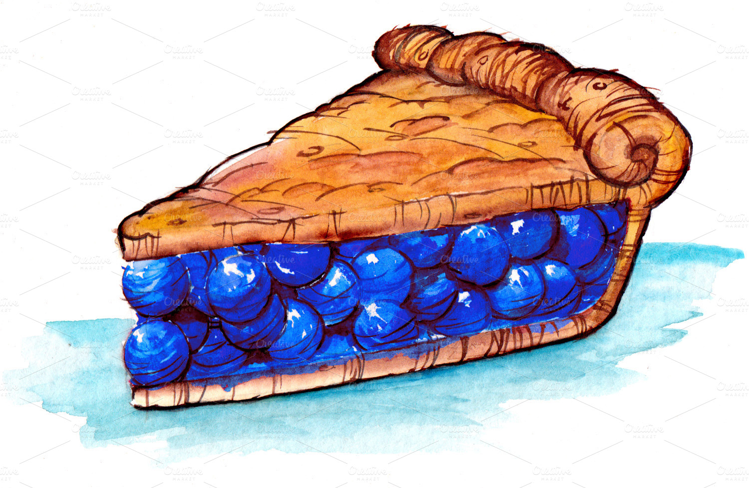 1500x978 Drawn Pies Blueberry Pie