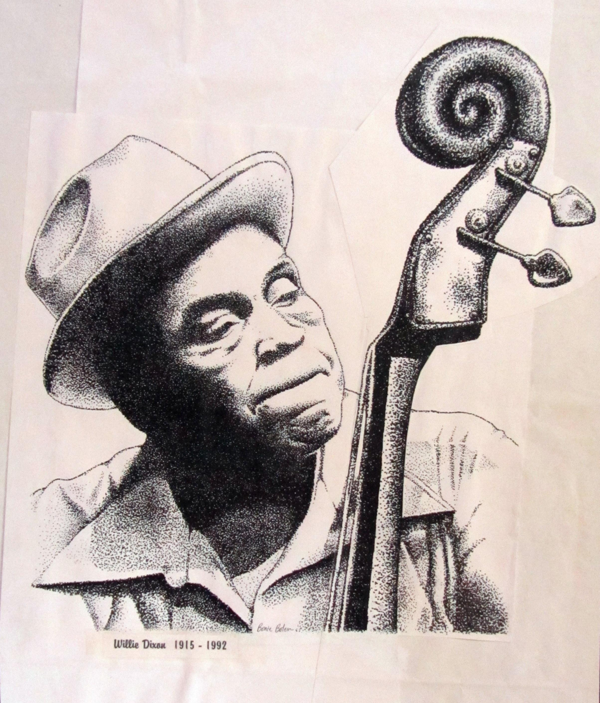 2406x2817 Bonie Bolen Artwork Willie Dixon Original Drawing Pen Music Art