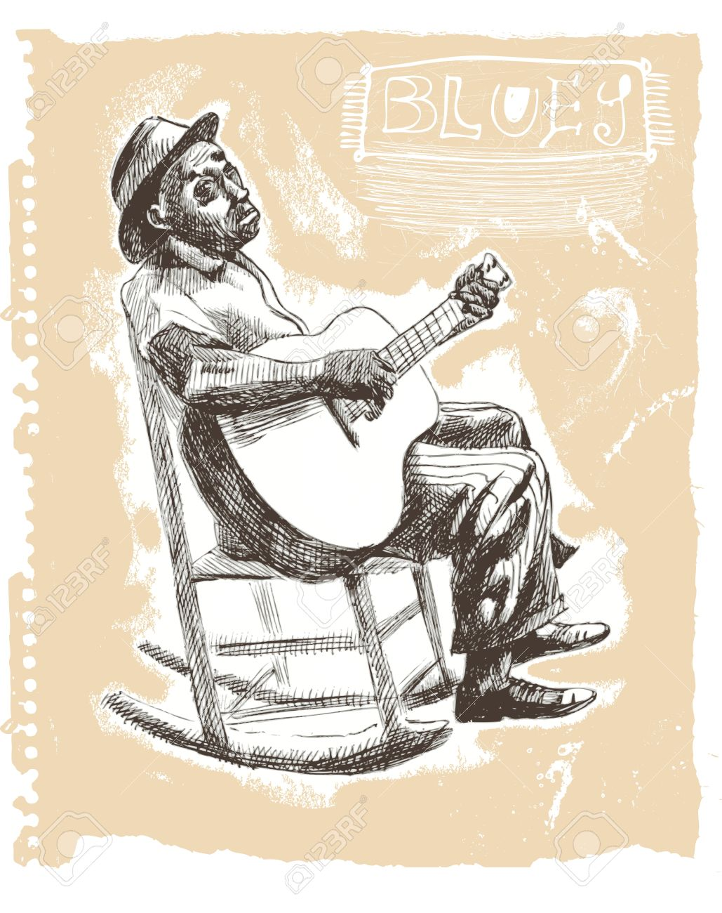1029x1300 Drawings Own Hands Musicians , Blues Man Royalty Free Cliparts