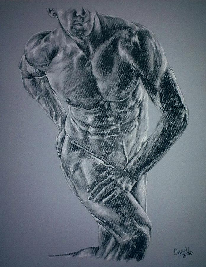 696x900 Male Physique In Blues Drawing By Denise Thurston Newton