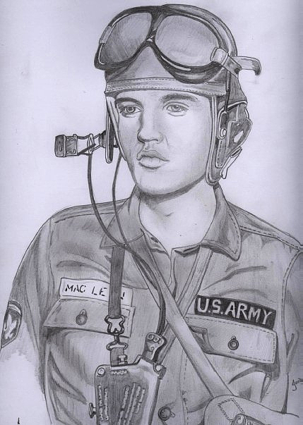 429x603 Presley In G.i Blues Drawing By Chris Reynolds