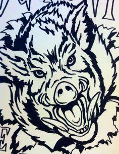236x304 Wild Boar Head Boar Wild Boar, Wood Burning