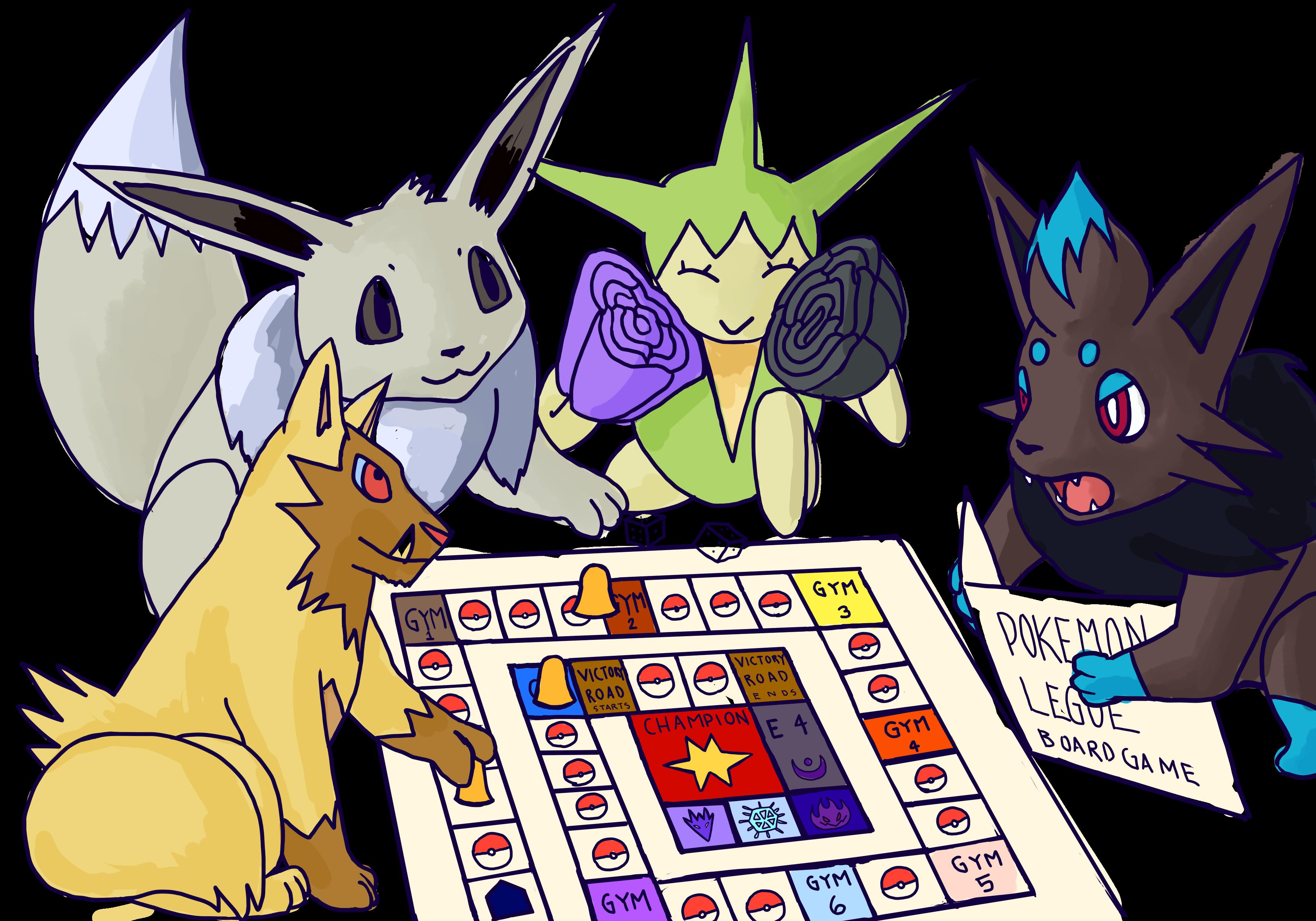 3543x2480 My Shiny Pokemon Playing A Board Game By Lupa Femina