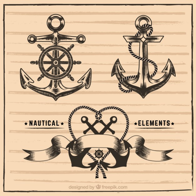 626x626 Hand Drawn Nautical Elements Vector Free Download
