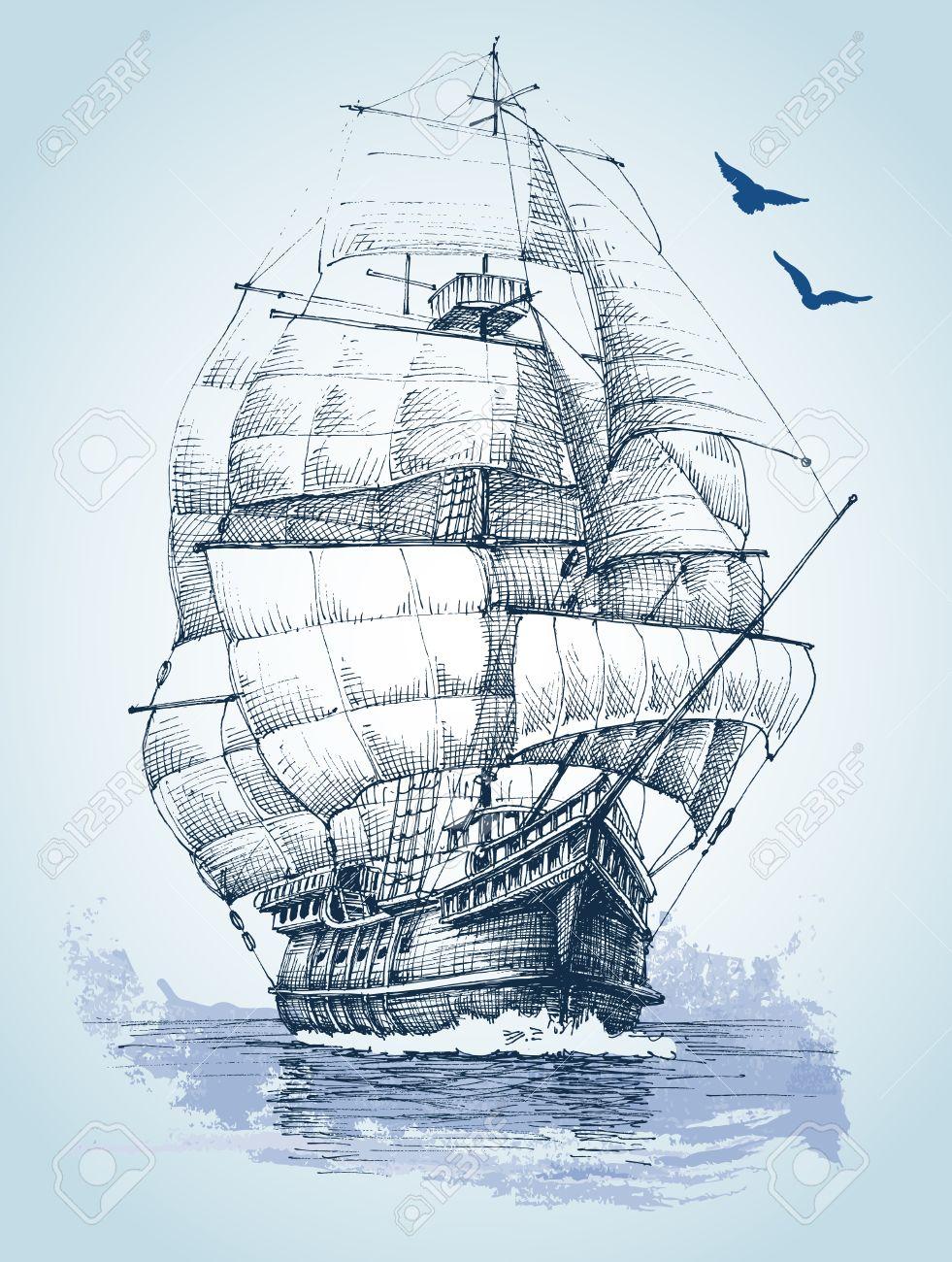 981x1300 Boat On Sea Drawing. Sailboat Vector Sketch Royalty Free Cliparts
