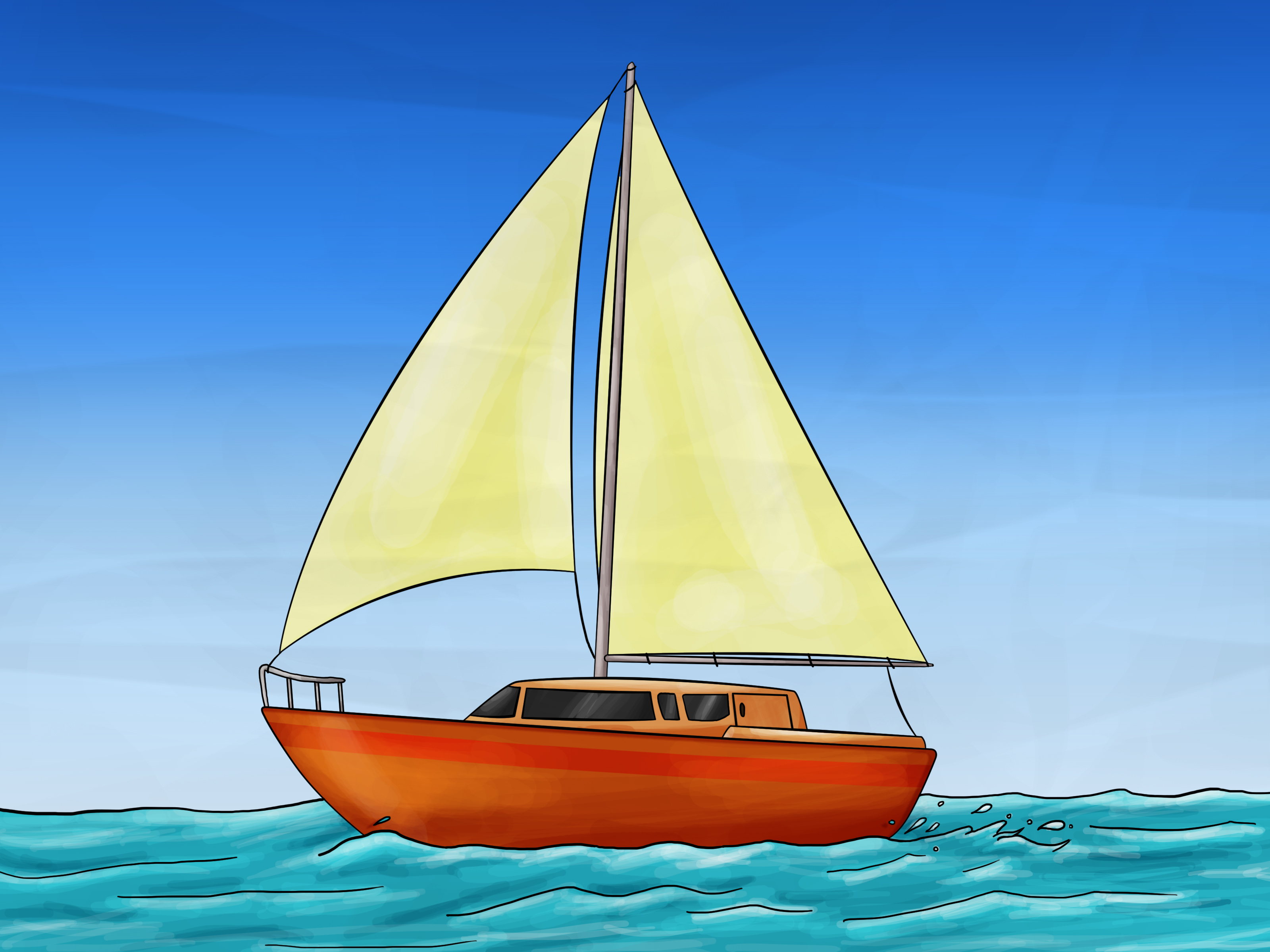 3200x2400 How To Draw A Sailboat 7 Steps (With Pictures)