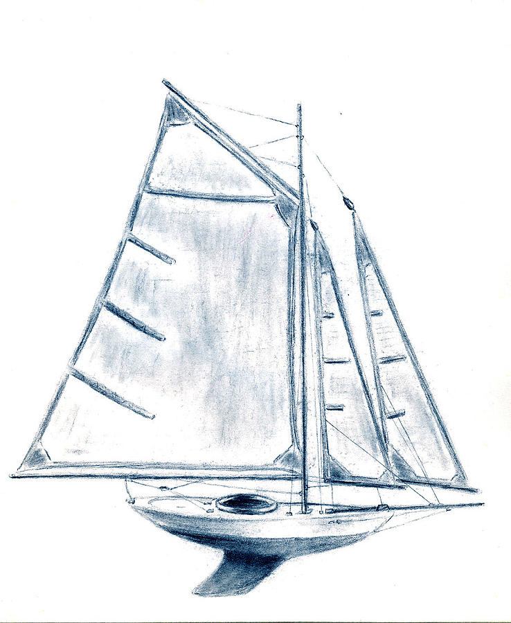 738x900 Sail Boat Drawing By Michael Vigliotti