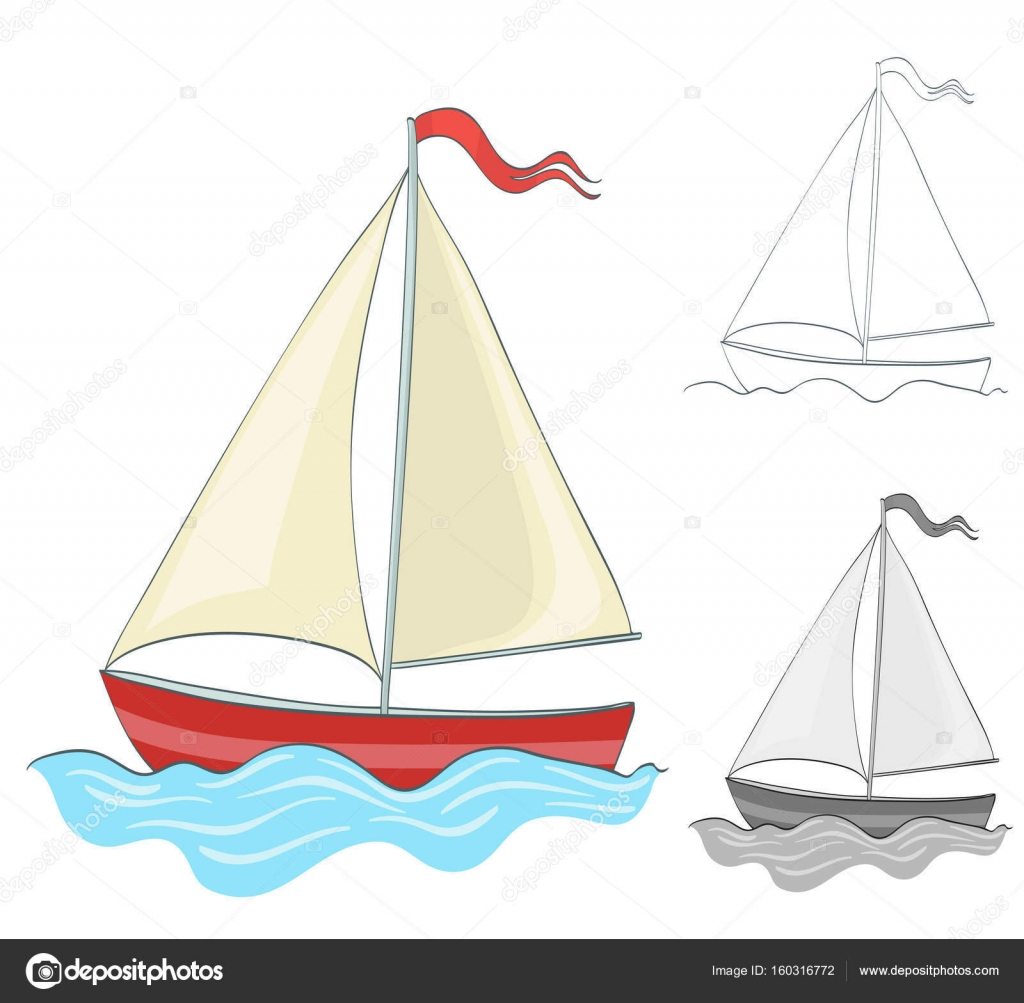 1024x1003 Sailing Boat Drawing With Coloring And Grayscale Version. Vector
