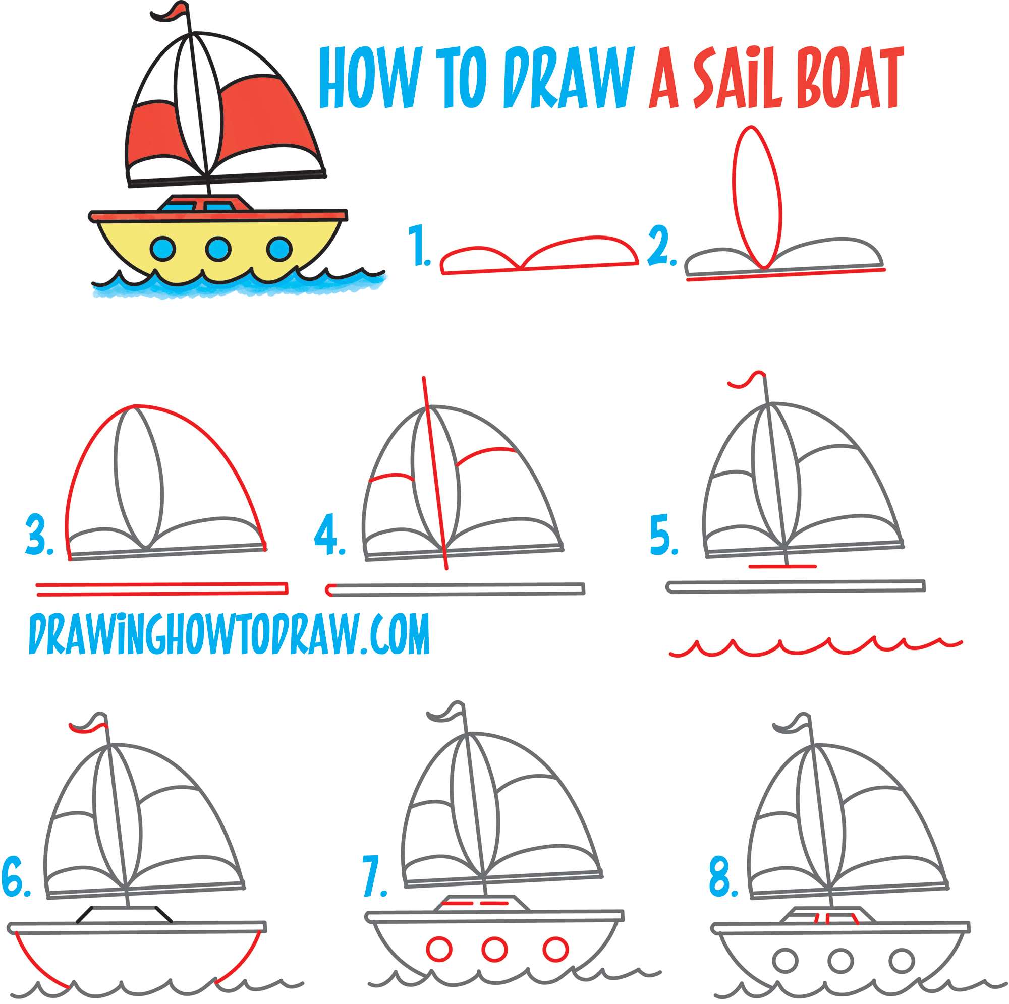 2000x1991 How To Draw A Cartoon Sailboat From The Letter B Shape Easy Step