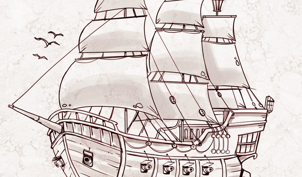 1024x600 Pirate Ship Pencil Drawing How To Draw A Pirate Boatpencil Simple