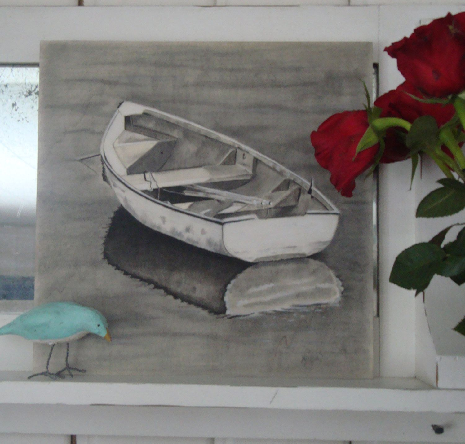 1500x1433 Drawing Rowboat Pastel Charcoal Pastel Water Boat Wood Boat
