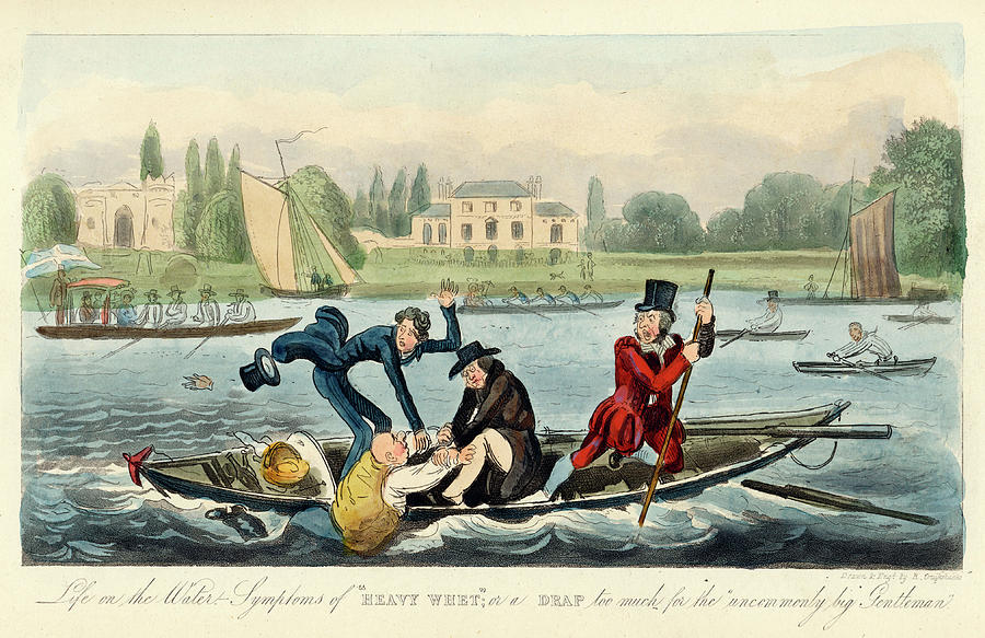 900x583 A Boating Accident On The River Drawing By Mary Evans Picture Library