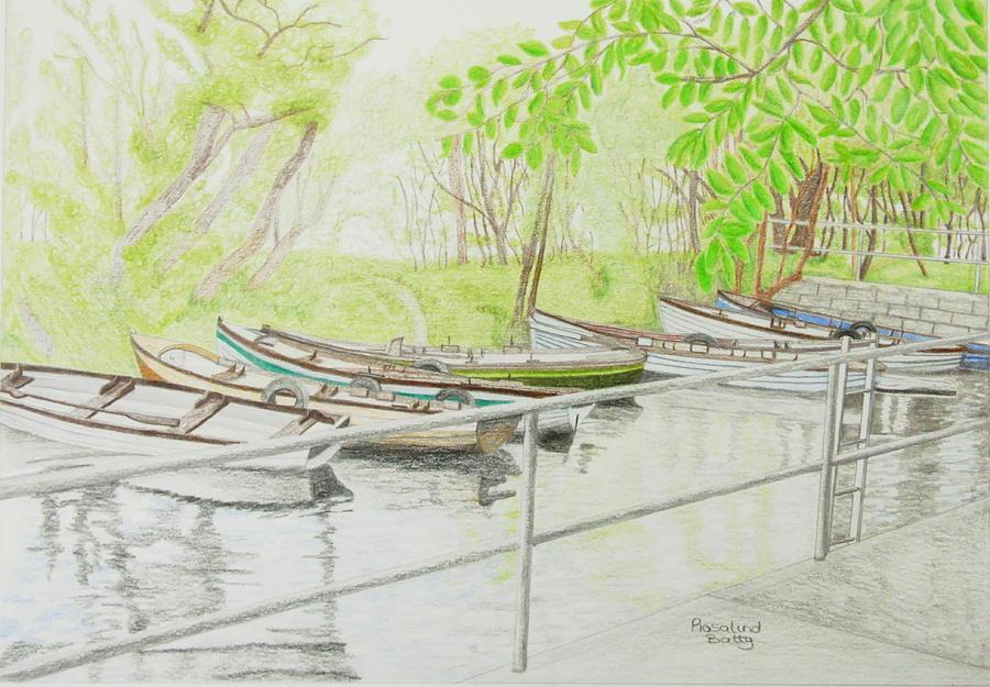900x625 Boats At The Boating Lake Drawing By Rosalind Batty