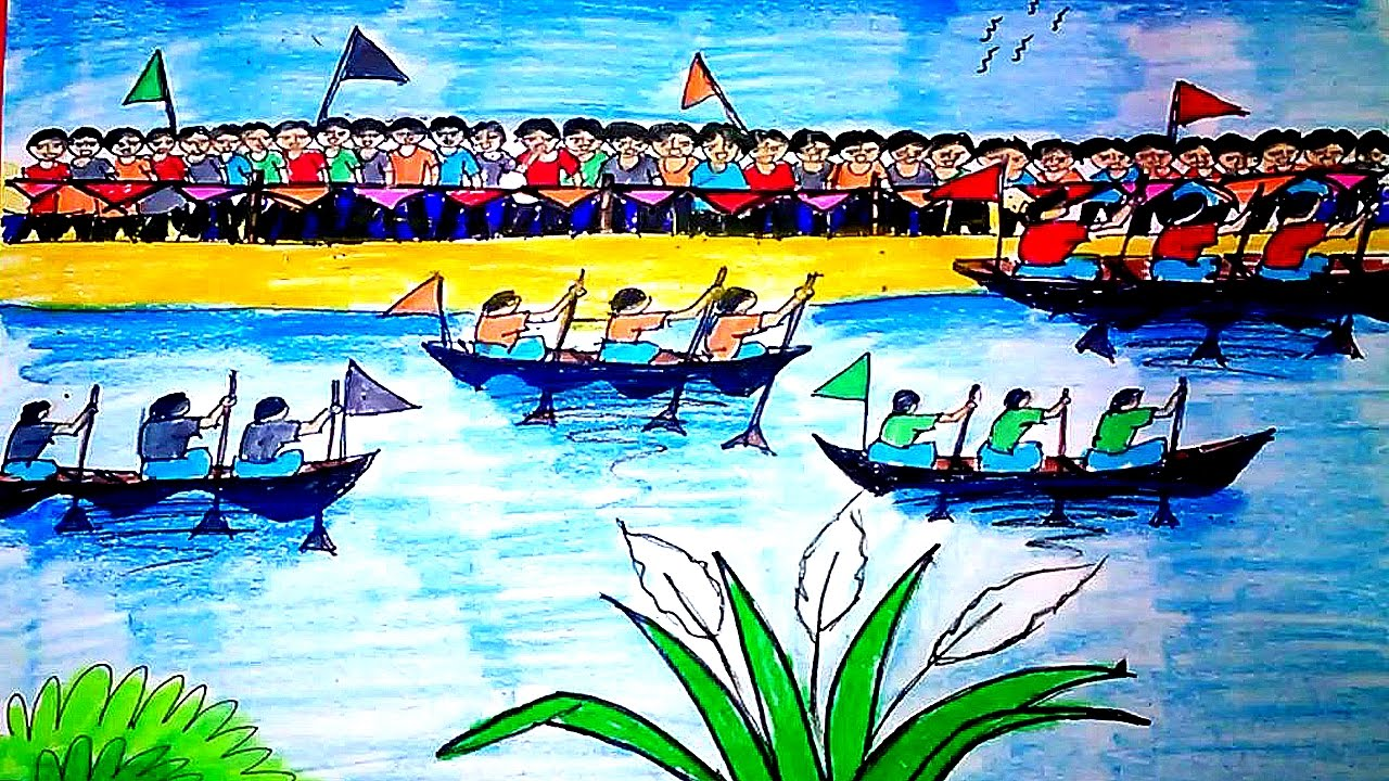 1280x720 How To Draw A Boat Race Scene Step By Step A Best Drawing
