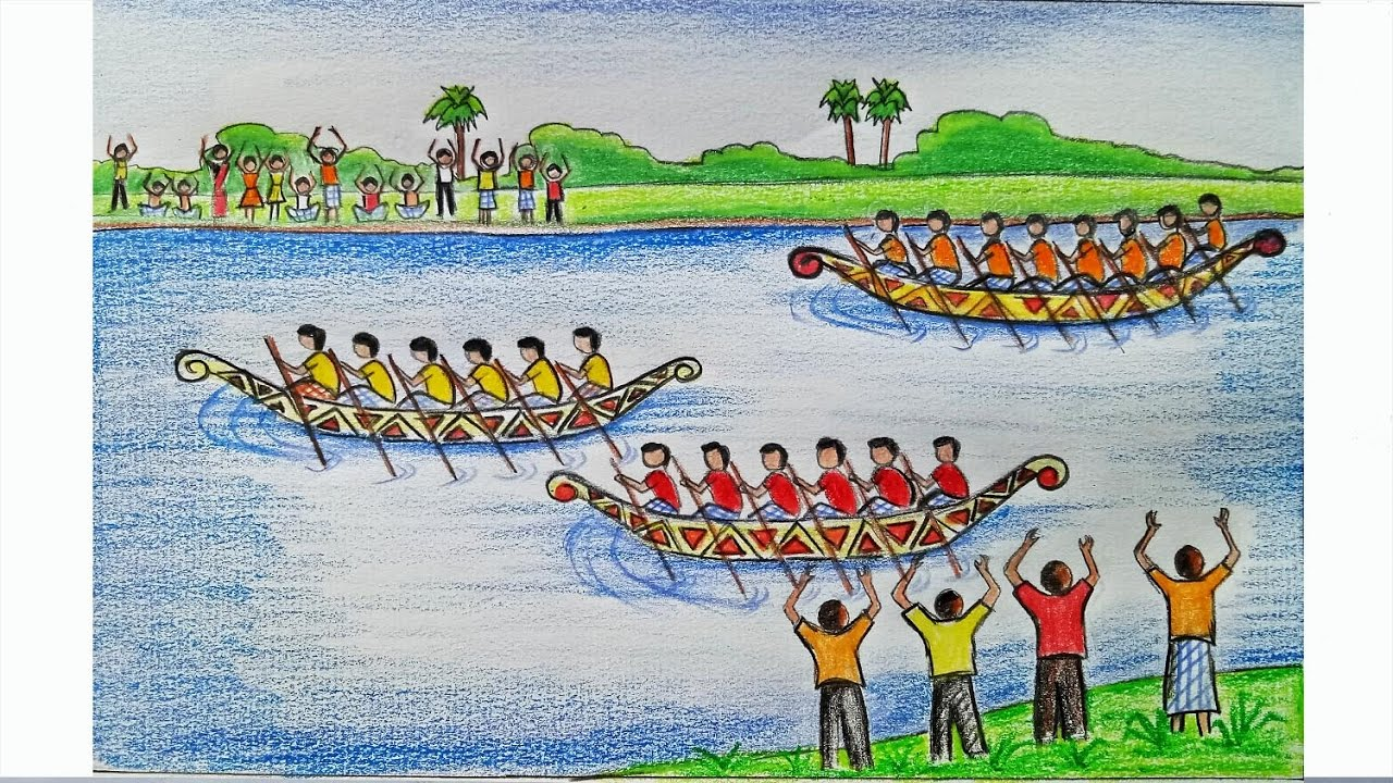 1280x720 How To Draw A Scenery Of Boat Regatta Step By Step (Very Easy