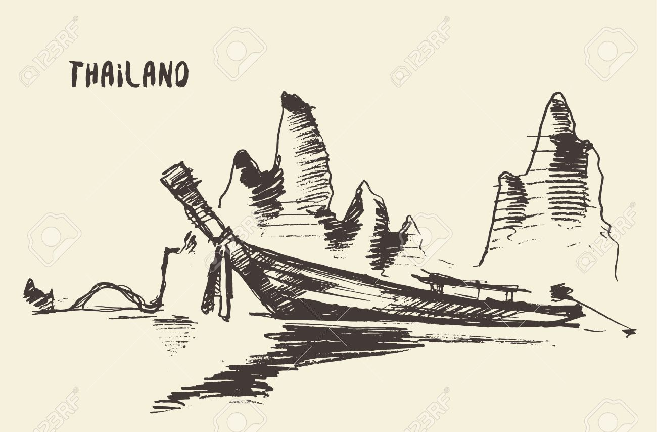 1300x854 Sketch Of Traditional Longtail Boat, Thailand. Vector Illustration