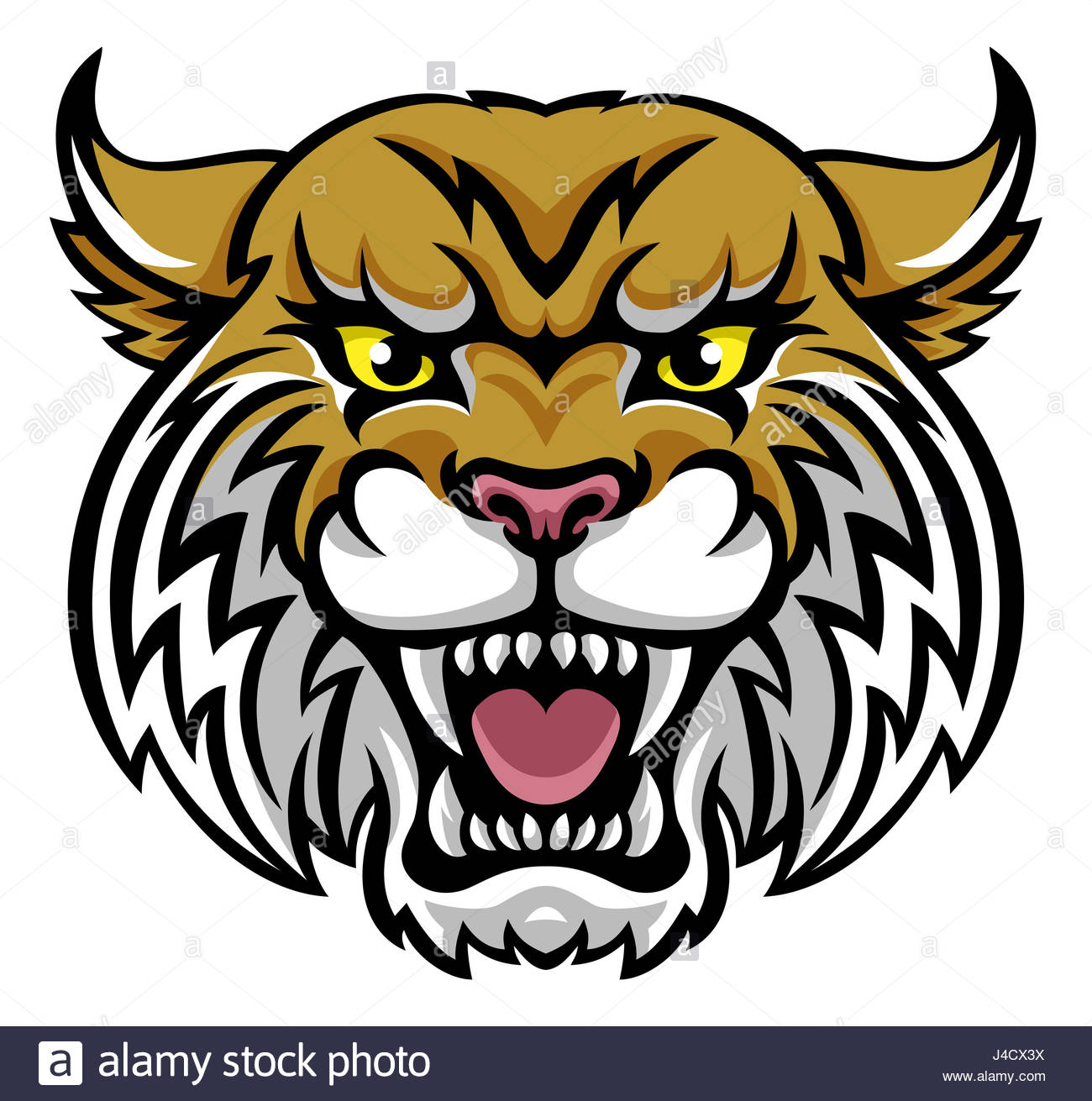1300x1311 An Angry Looking Wildcat Or Bobcat Mascot Animal Character Stock