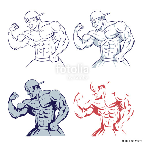 500x500 Bodybuilder Posing Muscle Man Line Drawing Illustration On White