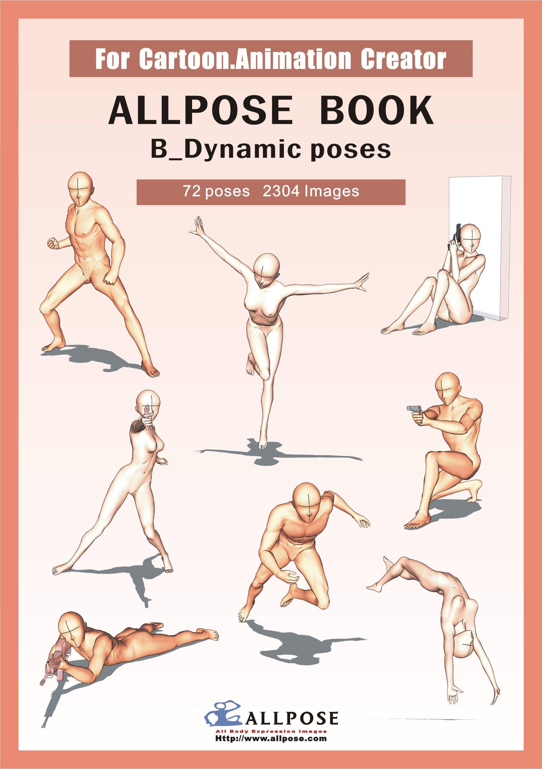 1747x2479 Allpose Book] B Dynamic Poses (For Comic, Cartoon, Manga, Anime