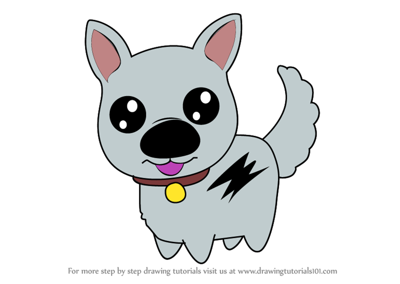 800x567 Learn How To Draw Kawaii Bolt The Dog (Kawaii Characters) Step By